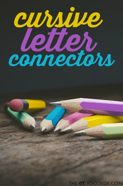 Try these tricks and strategies to help kids conquer the cursive letter connectors between individual letters of a cursive word as they learn to write in cursive handwriting. Teachers and therapists will love these handwriting ideas for teaching cursive handwriting.