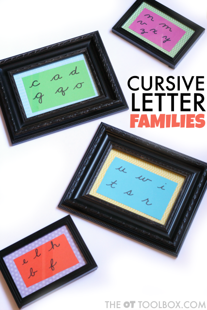 Cursive letters fit into families because there are similarities in how letters are formed that can help kids learn to write in cursive.