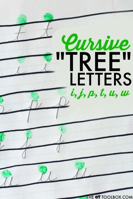 cursive letter formation tree letters