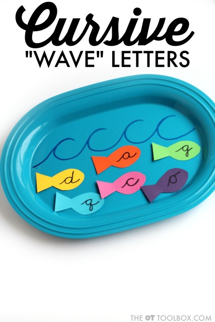 Teach cursive writing and letter formation by forming waves with a dry erase marker.