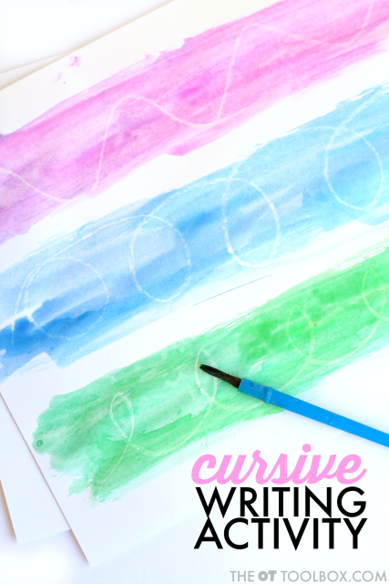 cursive letter formation watercolor resist art