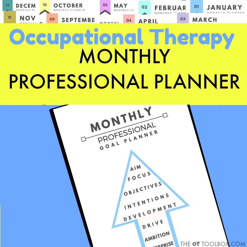 Monthly Professional Goal Planner printable sheets for occupational therapists
