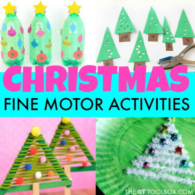 Use these Christmas fine motor activities to develop skills like hand strength, grasp, endurance, prehension, bilateral coordination, visual motor skills, and more in order to help kids with pencil grasp, handwriting, scissor use, and more.