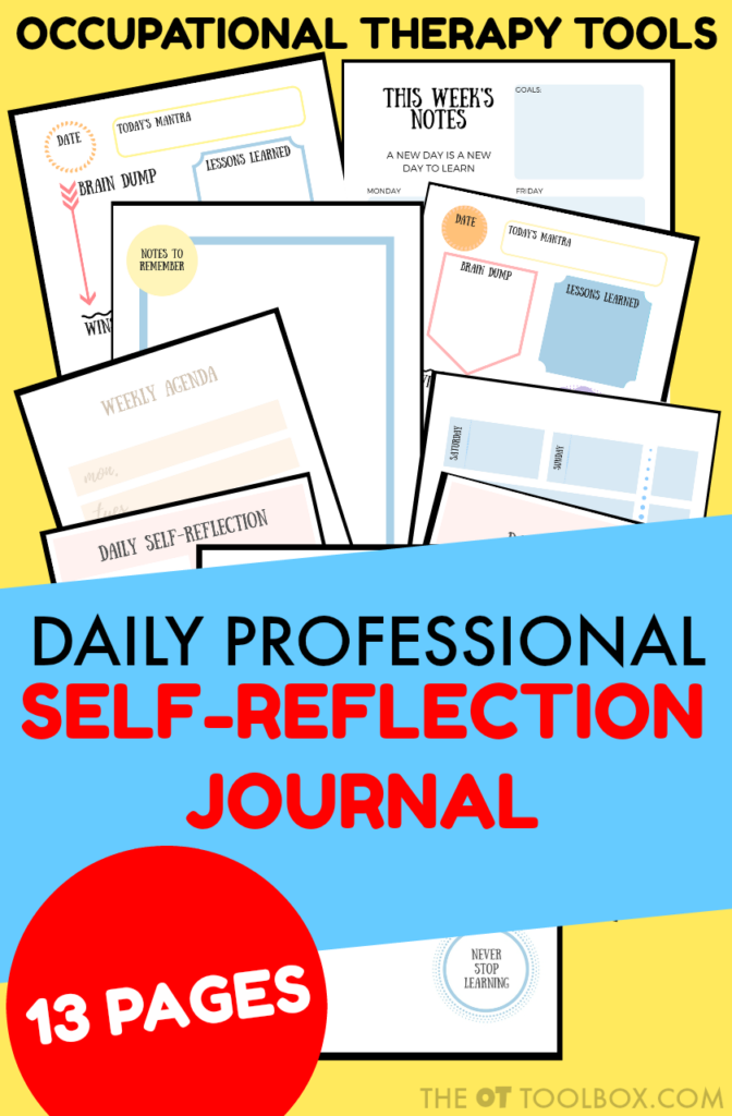 Occupational Therapy Daily Professional Self-Reflection Journal pages for supporting and encouraging self-development of Occupational Therapists.