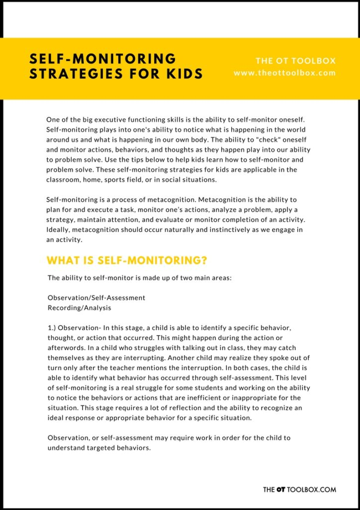 Printable self-monitoring strategy guide for teaching kids self-monitoring skills.