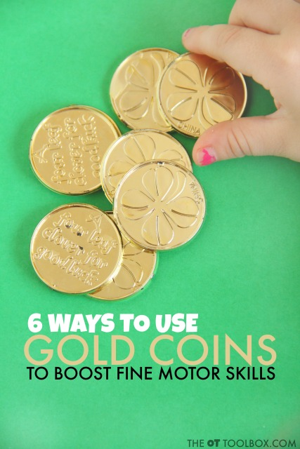Use coins to help kids work on fine motor skills