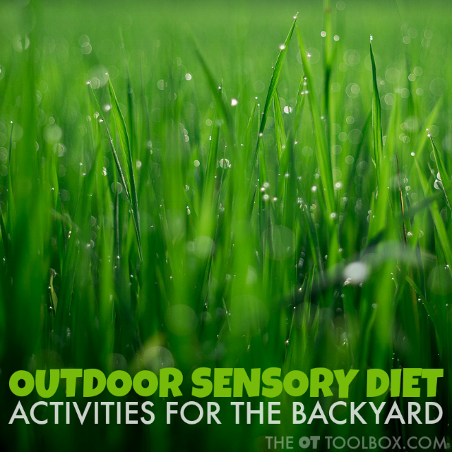 These outdoor sensory diet activities are good sensory experiences to meet the needs of children with sensory processing needs or those who struggle with sensory related behaviors, perfect for a home exercise program or occupational therapy activities.