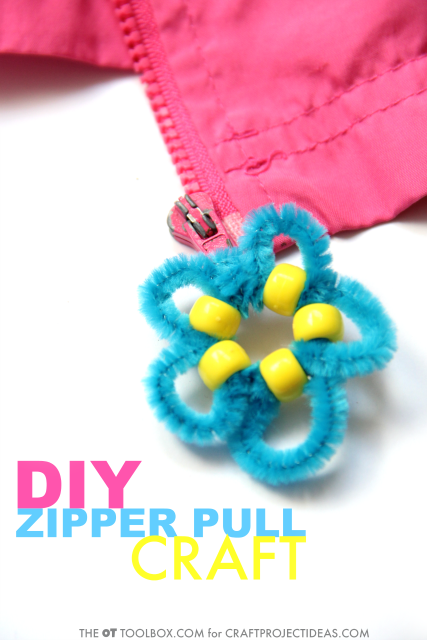 Make this DIY zipper pull craft to help kids learn how to zipper their own coat or jacket, while working on fine motor skills and self-dressing skills in kids.