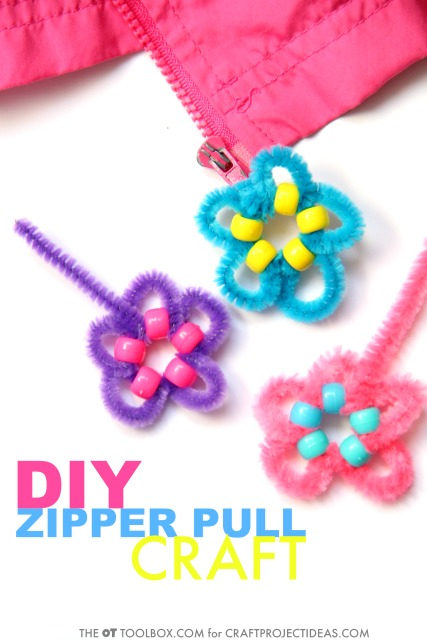 Make this DIY zipper pull craft to help kids learn how to zipper their own coat or jacket, while working on fine motor skills and self-dressing skills in kids. This fine motor craft is great for teaching kids how to zipper!