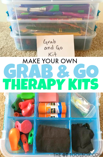 Make these grab and go occupational therapy toolkits to use in school based OT services or by mobile therapists working on fine motor skills or occupational therapy activities with kids.