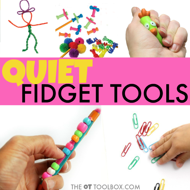 Quiet fidget tools for kids in the classroom to help with attention, fidgeting, or sensory needs.