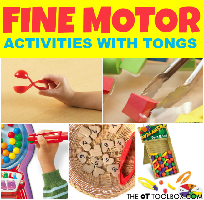 Use tongs to promote fine motor skills like these occupational therapy activities using tongs.