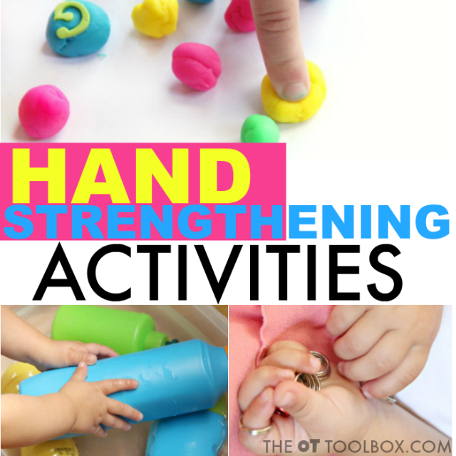Occupational therapists can use these hand strengthening activities to improve hand strength in kids or adults for improved fine motor skills.