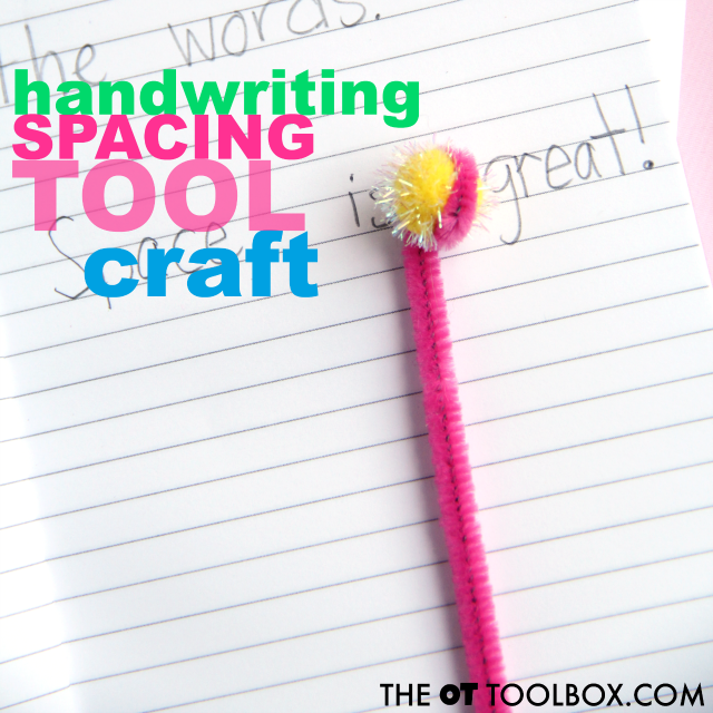 Kids can use pipe cleaners and craft items to make their own DIY handwriting spacing tool for writing neatly and improving spatial awareness in handwriting.