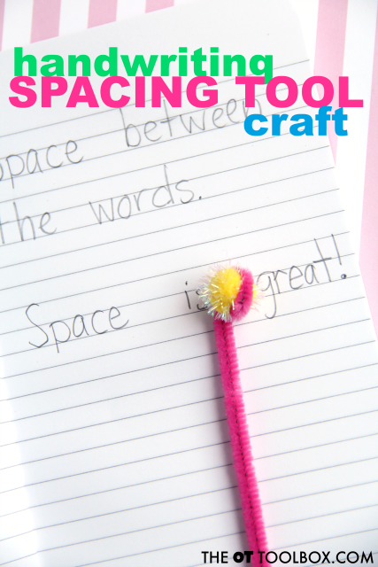 Us pipe cleaners and craft items to make a handwriting spacing tool that kids can use to improve spacing between letters and words when writing.