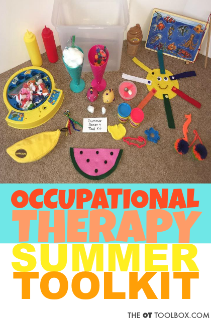 Use these themed occupational therapy activity toolkit ideas to create a themed summer OT activity kit for on-the-go treatment.