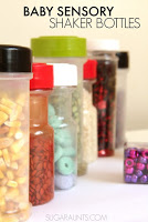 Baby Sensory bottles using recycled spice jars
