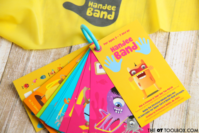 Make exercise a game for better carryover and excitement in kids when they use this therapy band exercise program, Handee Band.