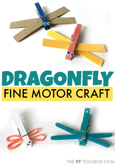 Kids will love this dragonfly craft occupational therapy activity that works on skills like fine motor skills and visual motor skills.