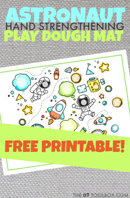 Use this astronaut play dough mat to work on intrinsic hand strength with play dough to build hand strength kids need for fine motor activities, all with a fun play dough activity!