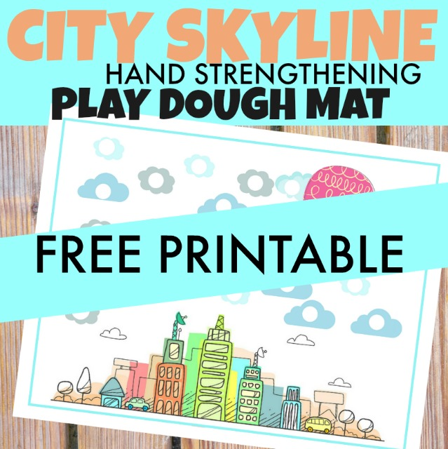 Use this city theme play dough mat to work on hand strength and increasing the hand strength needed for fine motor skills.