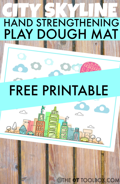 Kids can use this play dough city theme fine motor activity to increase hand strength for fine motor skills like handwriting and pencil grasp all with play dough activities kids love!