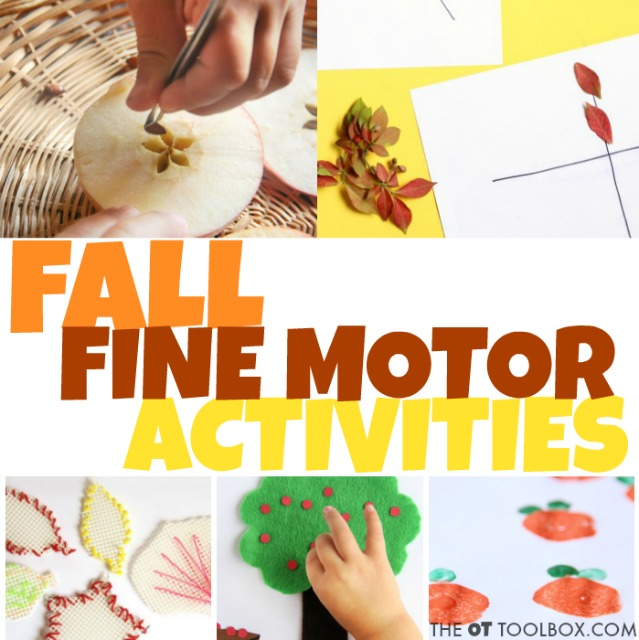 Kids will love these fine motor activities with a fall theme that help kids with the fine motor skills they need for so many tasks like pencil grasp, handwriting and other fine motor skills, all with fall fine motor activities that are fun and fabulous!
