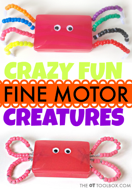 This fine motor craft for kids is a soap holder animal craft that helps work on to build fine motor skills, strength, bilateral coordination, and other areas that may be addressed in occupational therapy