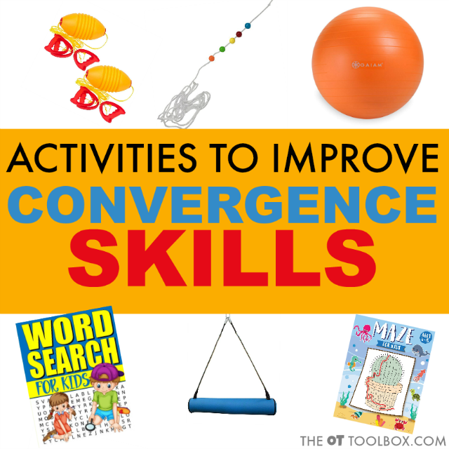 Activities to improve convergence insufficiency can include occupational therapy activities for visual motor skills like swing and therapy ball activities along with the brock string and other visual convergence activities kids love!