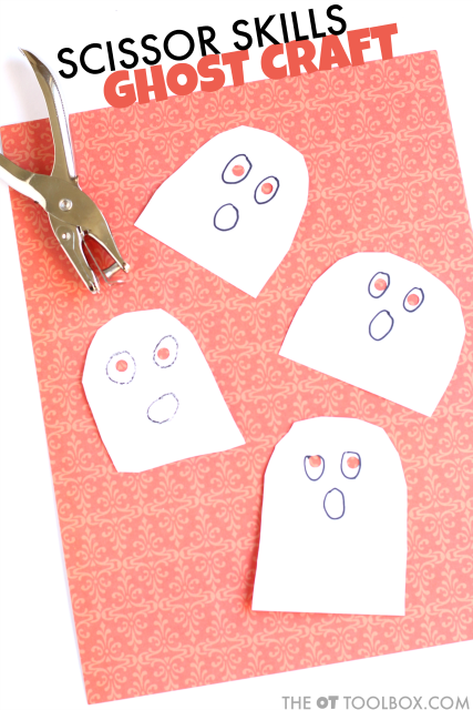 Use this ghost craft to work on scissor skills with kids, the perfect halloween craft for a ghost theme occupational therapy activity that boosts fine motor skills and scissor use including bilateral coordination and the visual motor skills needed for cutting with scissors.