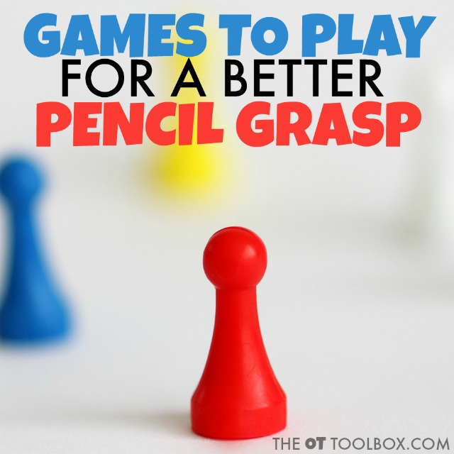 Kids can use these games that improve pencil grasp to help improve hand strength, fine motor skills like separation of the sides of the hand and in-hand manipulation in order to use a better pencil grasp when writing.
