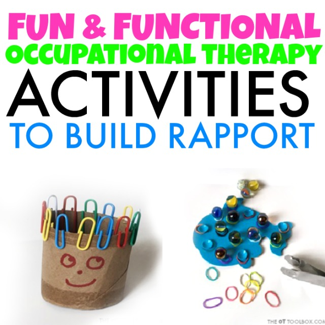 Kids can work on fine motor skills and therapists can build rapport with this back to school fine motor kit in occupational therapy activities.