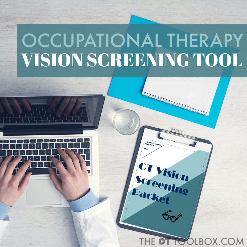 Use a visual screening tool like this occupational therapy screening tool to address visual processing skills like visual convergence and to guide visual convergence activities in therapy.