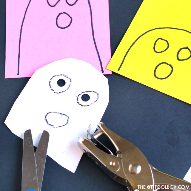 Kids will love this fun ghost craft in occupational therapy activities this fall, use this ghost craft idea to work on scissor skills and other fine motor skills in occupational therapy activities.