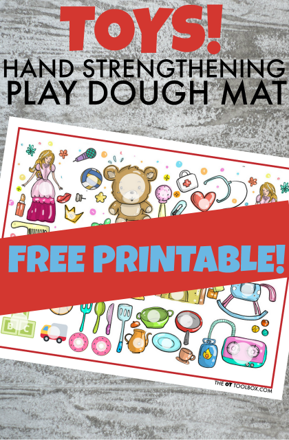 Use this free printable toy theme play dough mat to boost fine motor skills and hand strength that kids need for fine motor tasks, perfect for those kids that love play dough activities!