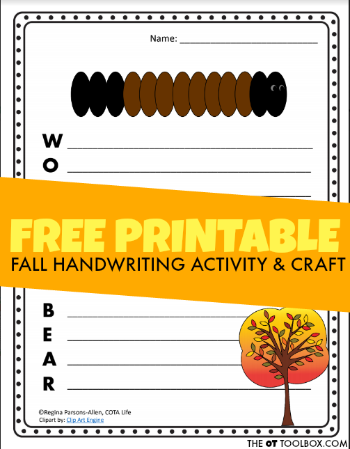 This fall craft idea is perfect for occupational therapists to use in OT sessions to work on handwriting with a woolly bear caterpillar theme for fall.