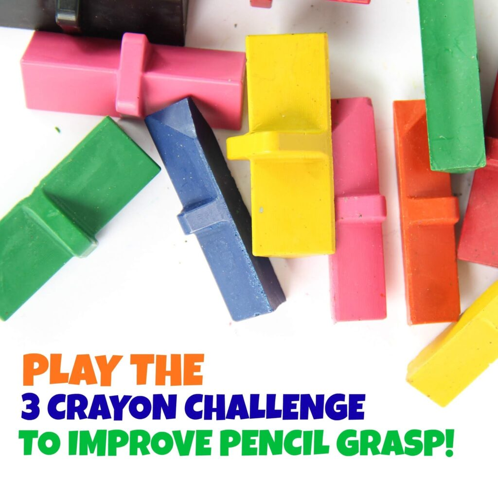 3 Crayon challenge with adapted crayons to help kids strengthen their hands and fine motor skills for a better pencil grasp and carryover of pencil grasp.