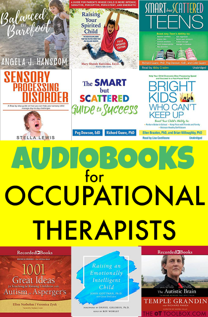 These audiobooks for occupational therapists are great for the travelling OT, or listening to while on a commute to work, covering a variety of areas that can improve your occupational therapy practice, in educating OT clients, advocating for occupational therapy patients, and improving OT practice areas.