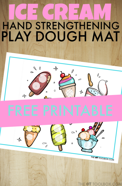 Use this ice cream play dough mat to help kids improve fine motor strength, specifically intrinsic hand strengthening with a fun play dough activity and a play dough mat activity.