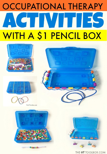 These pediatric occupational therapy activities use a dollar pencil box and common materials to work on fine mototr skills, visual motor skills, coordination, crossing midline, bilateral coordination, and dexterity with kids.