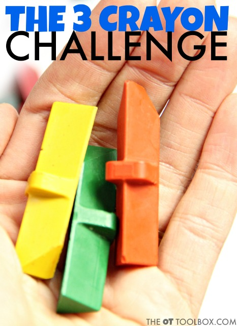 Play the 3 crayon challenge to improve hand strength, pencil grasp or grasp on crayons and carryover of pencil grasp strategies for a more efficient grasp and improved hand strength.