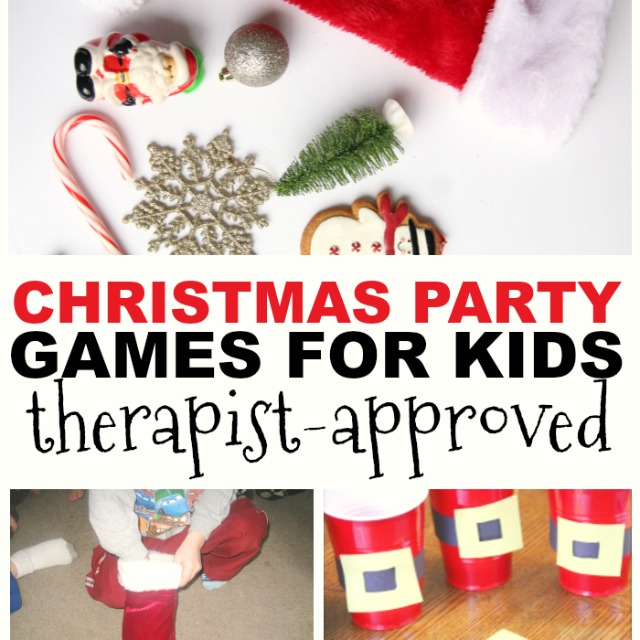 Christmas party games for kids that help with areas of development through movement and play, perfect for kids Christmas parties, holiday parties,indoor recess, or occupational therapy activities during the Christmas season..
