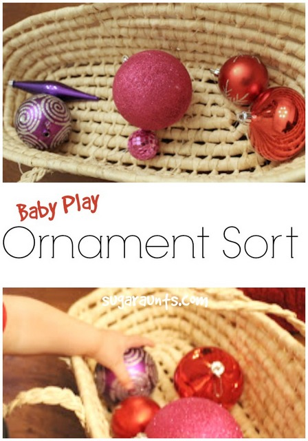 Sorting ornaments and playing with ornaments is a toddler activity that can help small kids with fine motor skills and other areas in play!