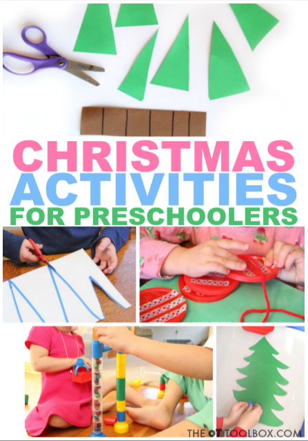 These Christmas Activites for Preschoolers are perfect for adding festive holiday fun in the preschool classroom or at home to help preschoolers work on skills like fine motor skills and other areas of development.
