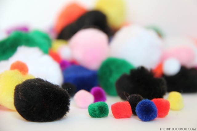Craft pom poms are needed to make a snowman craft that helps kids with fine motor skills.