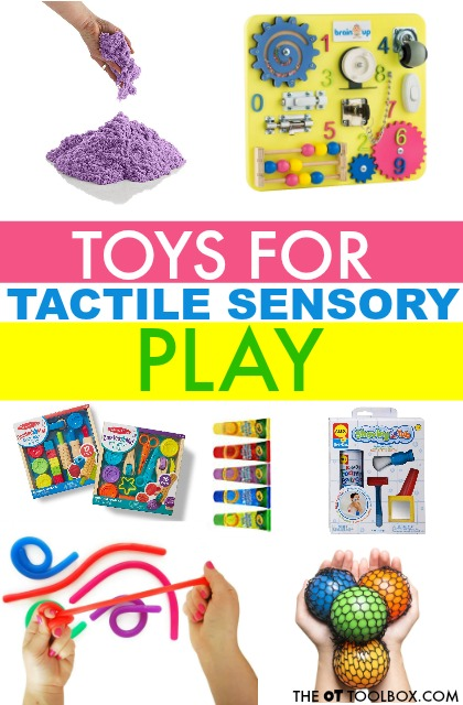 Need toys ideas to improve tactile sensory awareness? These toys are a fun way to help kids with sensory defensiveness or expereince sensory play while challenging tactile sensory input through the hands.