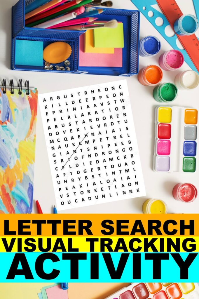 This activity to improve visual saccades uses a word search to help kids with visual tracking skills.