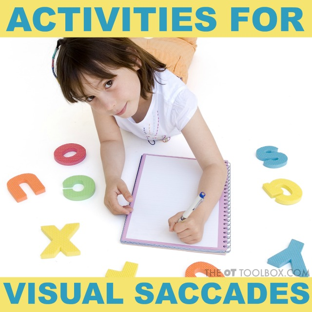 These activities to help with visual saccades are fun ways to work on visual tracking with kids.
