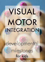 What is Visual Motor Integration?  This blog has a lot of information on visual motor integration developmental milestones and activities for kids.