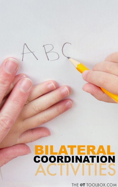 These bilateral coordination activities are creative ways to help kids with bilateral integration needed for fine motor tasks like handwriting, scissor use, and other functional skills.